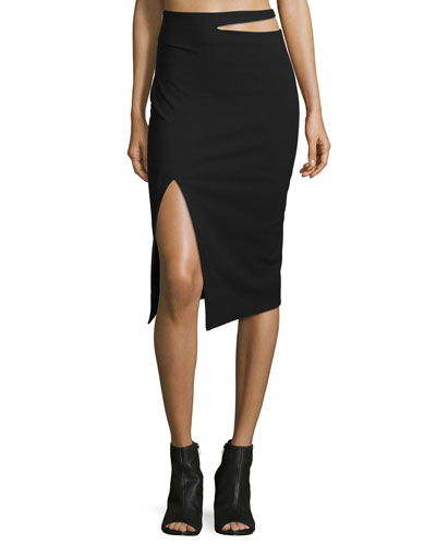 Perla Cutout-Waist Pencil Skirt, Black