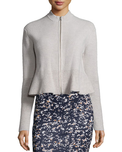 Ribbed Peplum Zip Jacket, Oatmeal