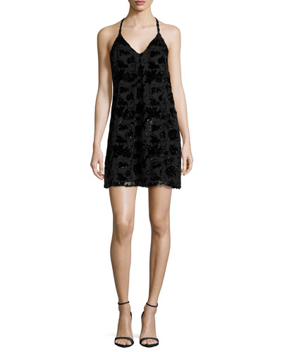 Fierra Sleeveless Velvet-Trim Mini Dress, Black