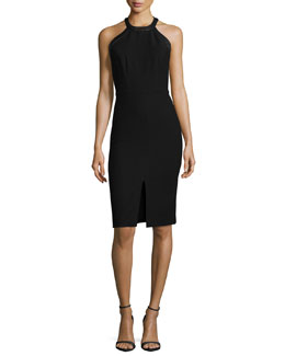 Jase Leather-Trim Sheath Dress, Black