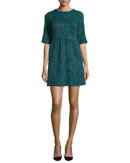 Glenys Short-Sleeve Tweed Dress, Teal