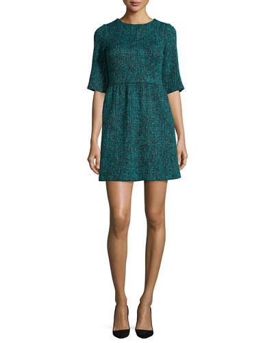 Glenys Short-Sleeve Tweed Dress, Teal