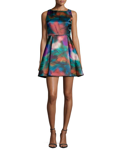 Belia A-Line Watercolor Dress, Multicolor