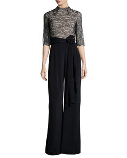 Rona Lace-Trim Jumpsuit, Black/Brown