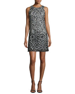 Remi Sleeveless Laser-Cut Shift Dress, Black