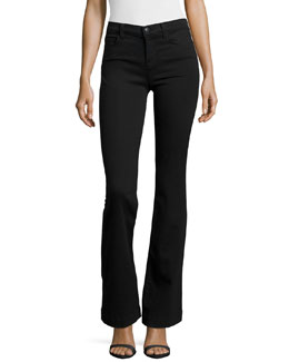 Maria High-Rise Flare Jeans, Black Shadow