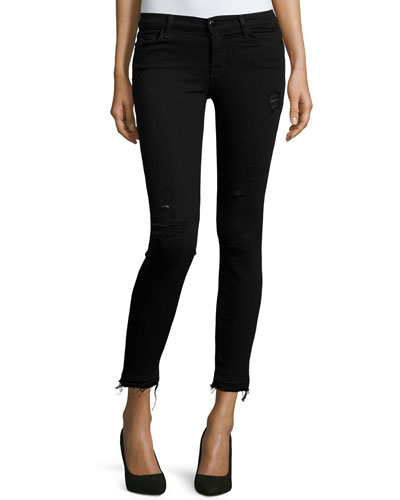 Mid-Rise Cropped Jeans W/Raw-Edge Hem, Exposure