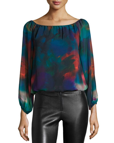 Alta Chiffon Watercolor-Print Top, Multicolor