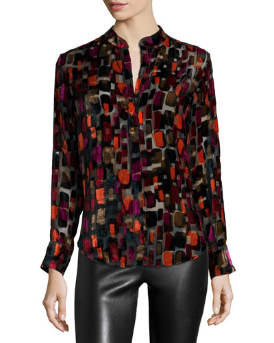 Long-Sleeve Velvet-Tile Blouse, Black/Multicolor