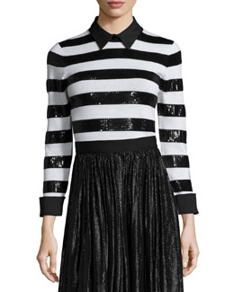Marlee Sequin-Trim Wool Sweater, Black/White