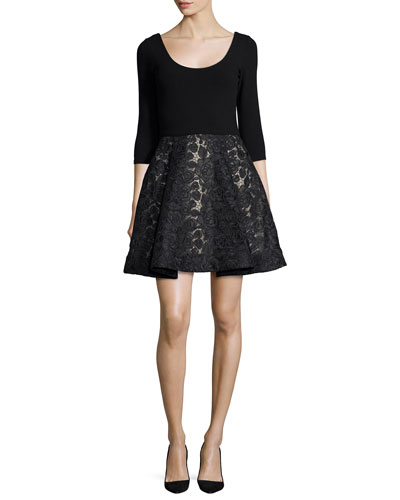 Amie Scoop-Neck Combo Dress, Black