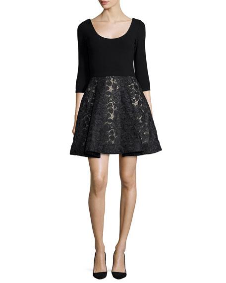 Amie Scoop-Neck Combo Dress, Black