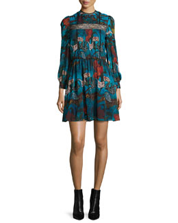 Aimee Long-Sleeve Floral-Print Dress, Blue/Multicolor