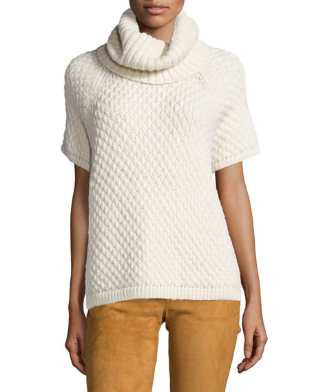 Short-Sleeve Alpaca Turtleneck Sweater, Cream
