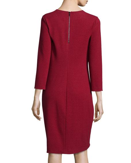 Solid Boucle Knit Dress, Crimson