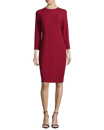 Solid Boucle Knit Dress, Crimson