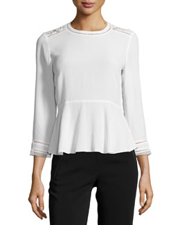 3/4-Sleeve Lace-Trim Crepe Blouse, Chalk