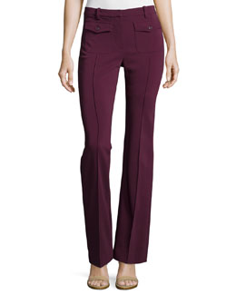 Slim-Fit Boot-Cut Creased Pants, Oxblood