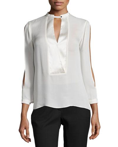 Mandarin Collar Slit-Sleeve Silk Blouse