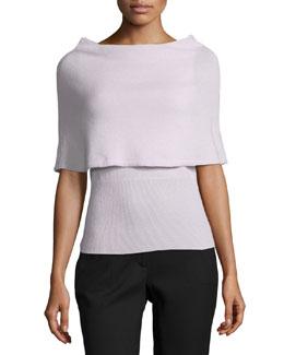 Poncho Sweater W/ Ribbed Hem