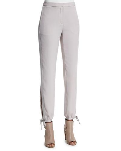 Slim Satin-Tie Tuxedo Pants