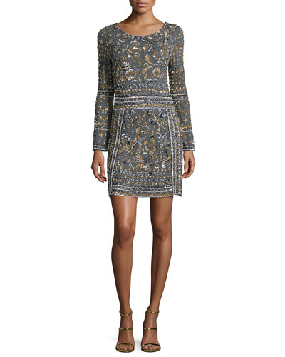 Hivera Embellished Cashmere Dress, Derby Gray