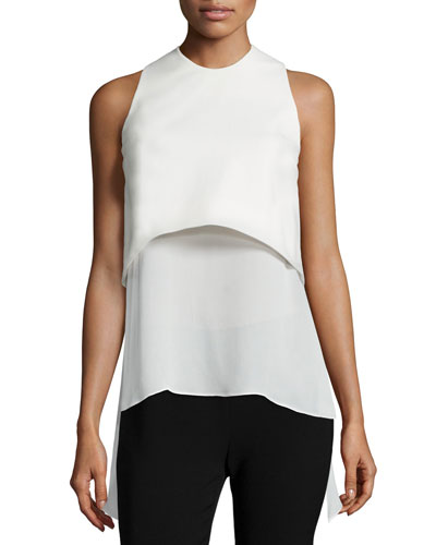 Wren Sleeveless Layered-Hem Top, Ivory