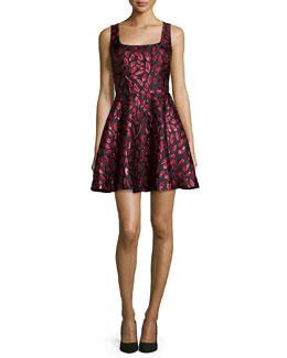 Sleeveless Minnie Midnight Kiss A-Line Dress, Oxblood/Black