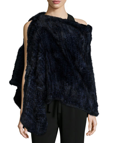 Convertible Rabbit Fur Poncho, Navy