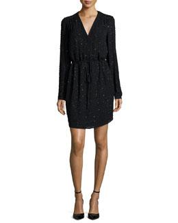 Long-Sleeve Beaded Shirley Dress, Black