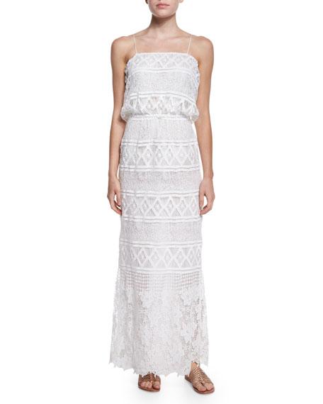 Miguelina Rylan Geometric-Print Crochet Maxi Dress