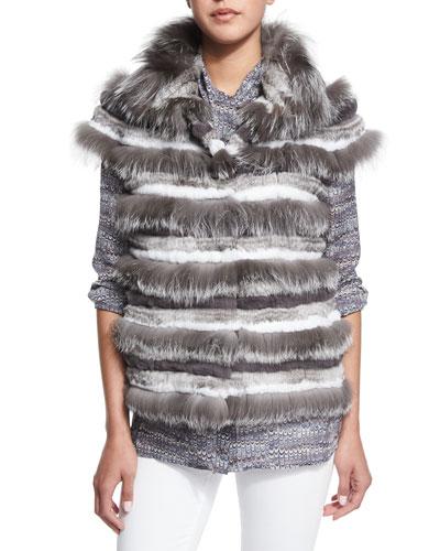 Fox Fur Striped Vest