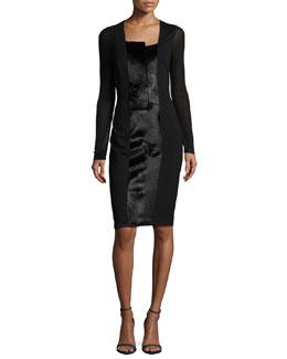 Adelle Long-Sleeve Knit Dress W/ Calf Hair