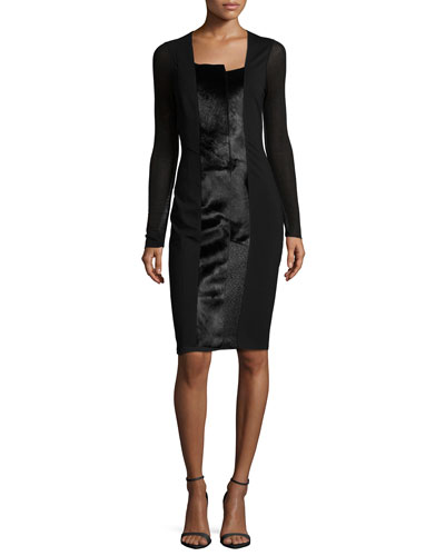 Adelle Long-Sleeve Knit Dress W/ Calf Hair
