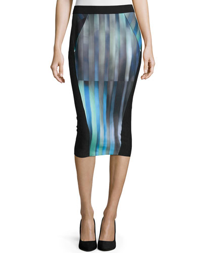 Arianna Striped Pencil Skirt