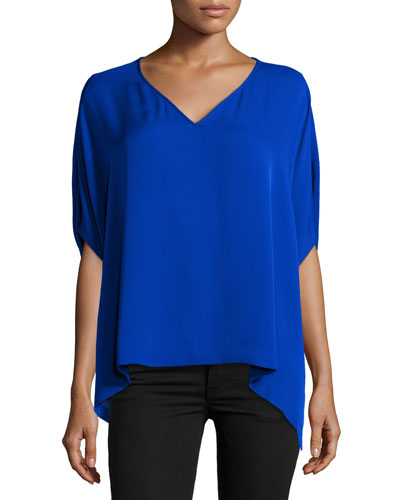 Adria Short-Sleeve Silk Top, Cosmic Cobalt