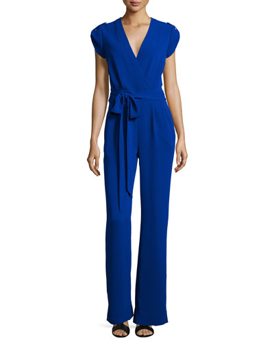 Purdy Short-Sleeve Belted Jumpsuit, Cosmic Cobalt