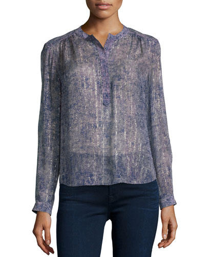 Long-Sleeve Static-Print Top, Dewberry