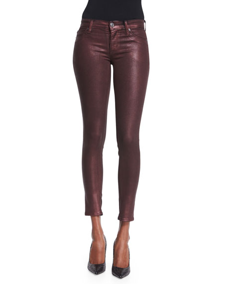 Krista Skinny Ankle Jeans, Metallic Amber