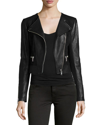 Iridessa Asymmetrical-Zip Leather Jacket