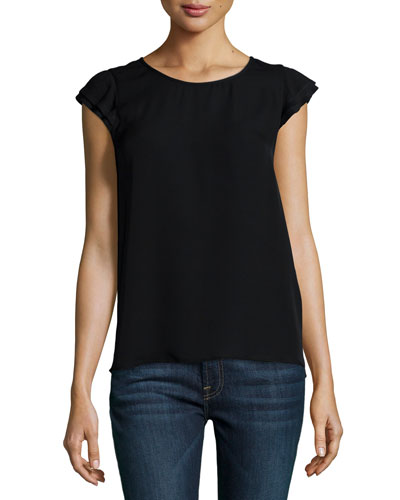 Nesrin Cap-Sleeve Silk Top