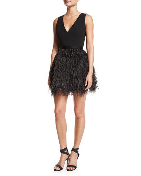 Alice Olivia Kiara V Neck Feather Trim Bell Dress Black