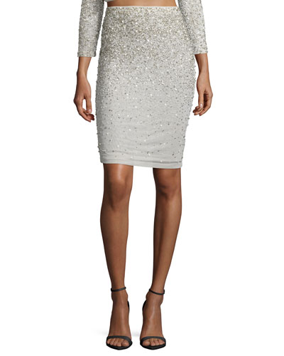 Ramos Embellished Pencil Skirt, Cream