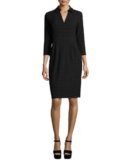 3/4-Sleeve Textured Shirtdress