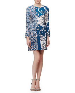 Long-Sleeve Paisley-Print Dress