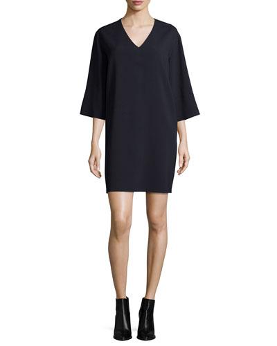 Textured Quarter-Sleeve Shift Dress