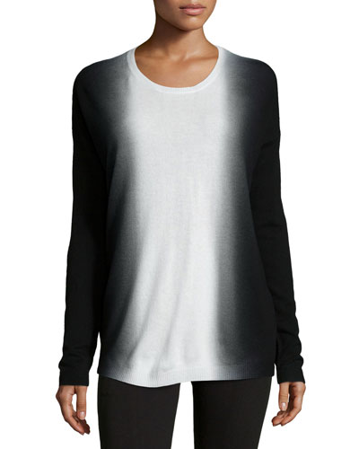 Dip-Dye Wool/Cashmere Crewneck Sweater