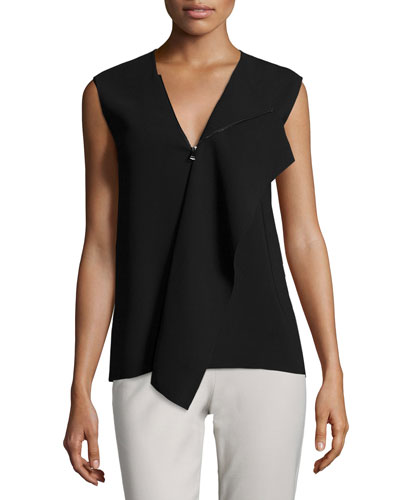 Laser-Cut Zip-Collar Sleeveless Top