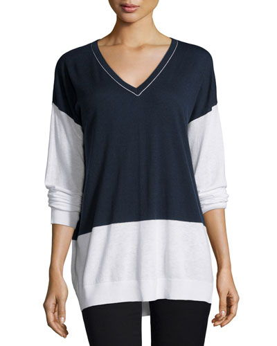 Colorblock V-Neck Long-Sleeve Top
