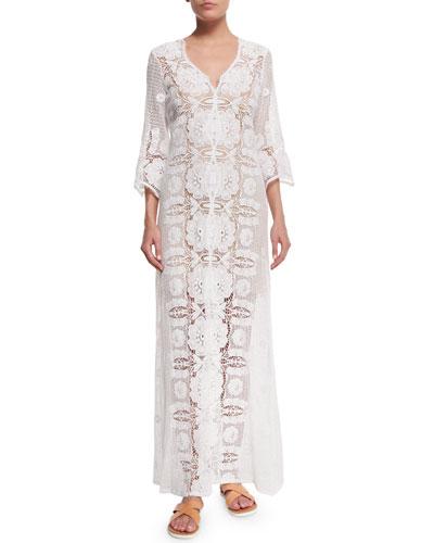 Karina Floral-Crochet Coverup Dress